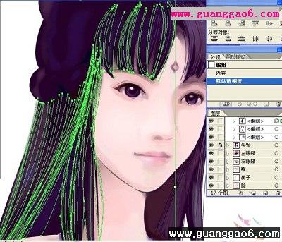 ai绘制仙剑4古典美女柳梦璃的头发